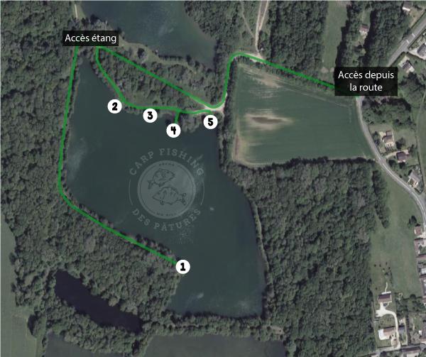 Plan d'accès et des postes de l'étang Carp Fishing des Pâtures pour la pêche de la carpe en no kill